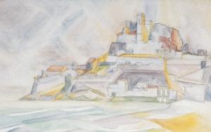 Espagne,-le-château-de-Peniscola-aquarelle-1958