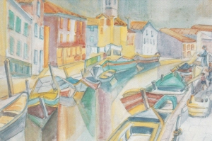 Italie,-Burano,-barques-de-pêcheurs---aquarella-1970
