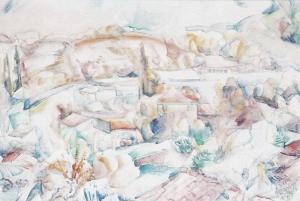 Mirmande,-la-ferme-Perrinet-aquarelle-1947