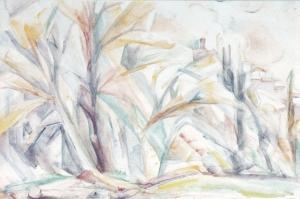 Mirmande,-le-village-et-les-peupliers-de-Caroline-en-bordure-de-Teyssonne-aquarelle-1949