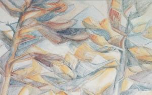 Mirmande,-les-deux-pins-maritimes-aquarelle-1958