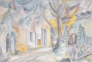 Mirmande, André Lhote et Simone devant la ferma aux 90 appartments aquarelle 1957